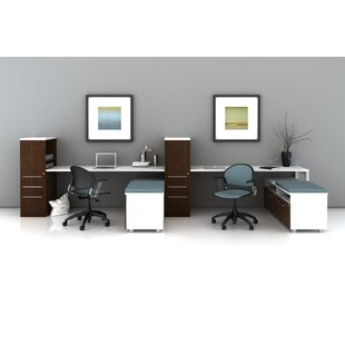 Trendway Trig Desking with Low Storage L-Shape Desk Office Suite