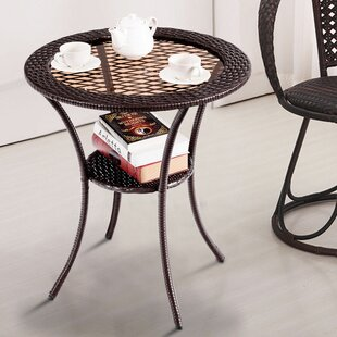 Peralta Rattan Wicker Coffee Table with Tray Top