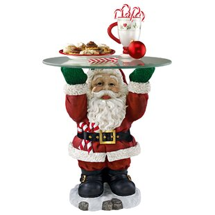 Santa Claus Sculptural Glass-Topped Holiday Table by Design Toscano