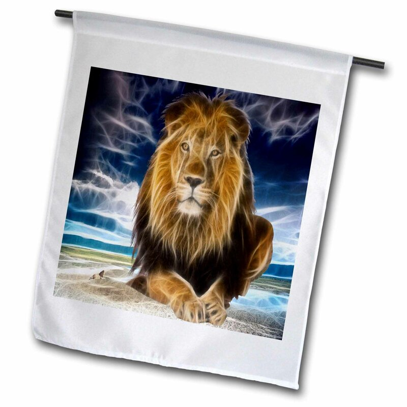 3drose King Of The Jungle Stunning Lion On The Prairie With Digital Affects Polyester 27 X 18 In Garden Flag Wayfair