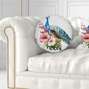 Flower Hibiscus Flowers and Peacock Throw Pillow