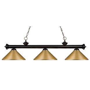 Pool table lights youll love wayfair zephyr 3 light metal shade pool table light greentooth Images