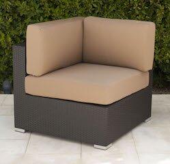 Trijaya Living Wicker Corner Chair with Cushion