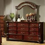 Three Posts Glynda 11 Drawer Double Dresser with Mirror