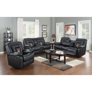 Alice Leather 3 Piece Living Room Set by Red Barrel Studio
