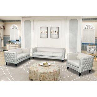 Lack Modern Nail-head 3 Piece Configurable Living Room Set