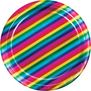Rainbow Foil Paper Plate (Set of 24)