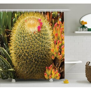 Azhar Cactus Photo of Cactus Plant Flower With Spike Botanic Desert Garden Floral Image Single Shower Curtain