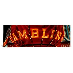 'Close-up of a Neon Sign of Gambling, Las Vegas, Nevada' Photographic Print on Canvas by East Urban Home