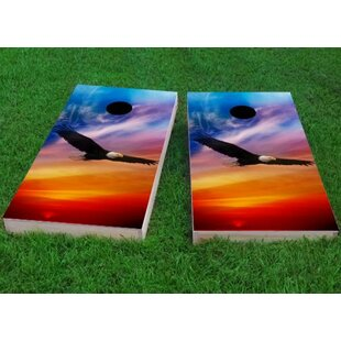 Custom Cornhole Boards Flying Eagle in Sunset Cornhole Game (Set of 2)