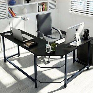 tetrick lshaped computer desk black