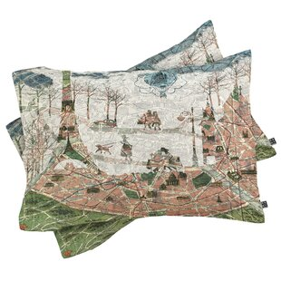 Map Under the Paris Sun Pillowcase (Set of 2)