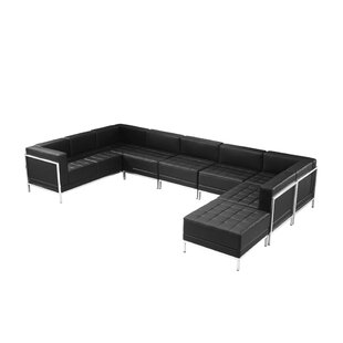 Peyton Leather Modular Sectional With Ottoman by Orren Ellis Best Choices