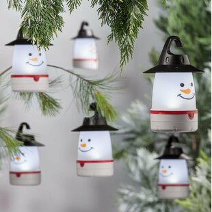 Plow & Hearth LED Snowman Lantern Lights (Set of 4)