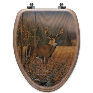 WGI-GALLERY November Whitetail Deer Oak Elongated Toilet Seat