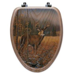 WGI-GALLERY November Whitetail Deer Oak Elongated Toilet Seat