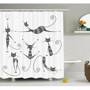 Everly Funny Skinny Striped Cat Shower Curtain + Hooks