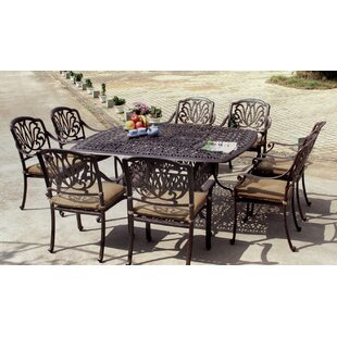 Three Posts Lebanon 9 Piece Dining Set with Cushions