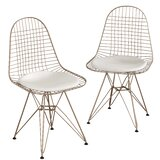 Merrie Wire Metal Windsor Back Side Chair in Gold/White (Set of 2) by Wrought Studio™