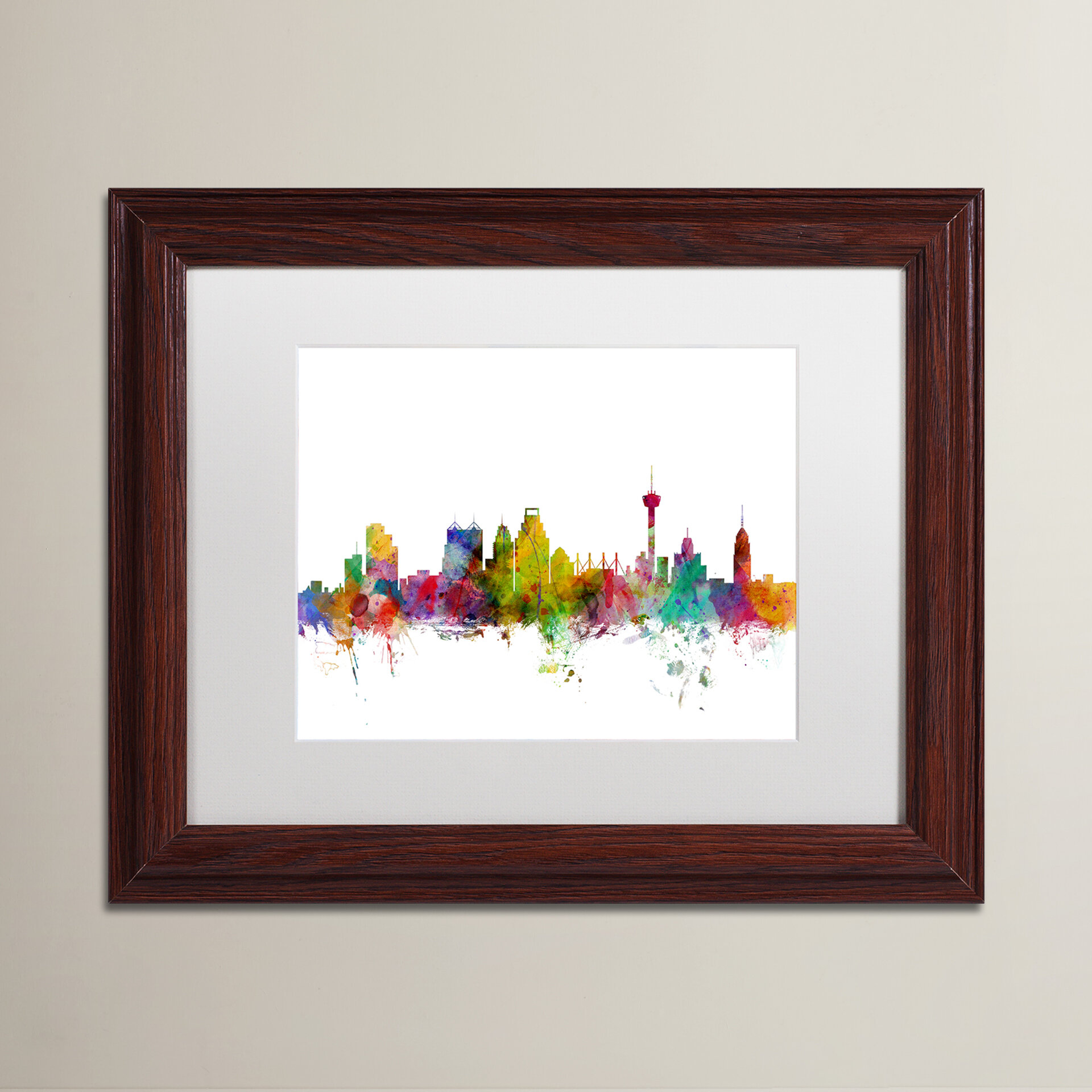 Ivy Bronx San Antonio Texas Skyline Rectangle Framed