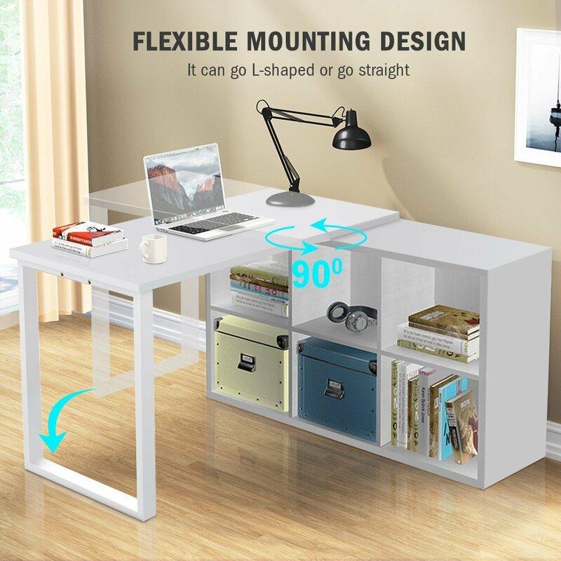 Great Britni Modern Corner L Shape Computer Desk With 6 Storage Unit Combo