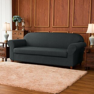 Jacquard Stretch Box Cushion Loveseat Slipcover By Rosalind Wheeler