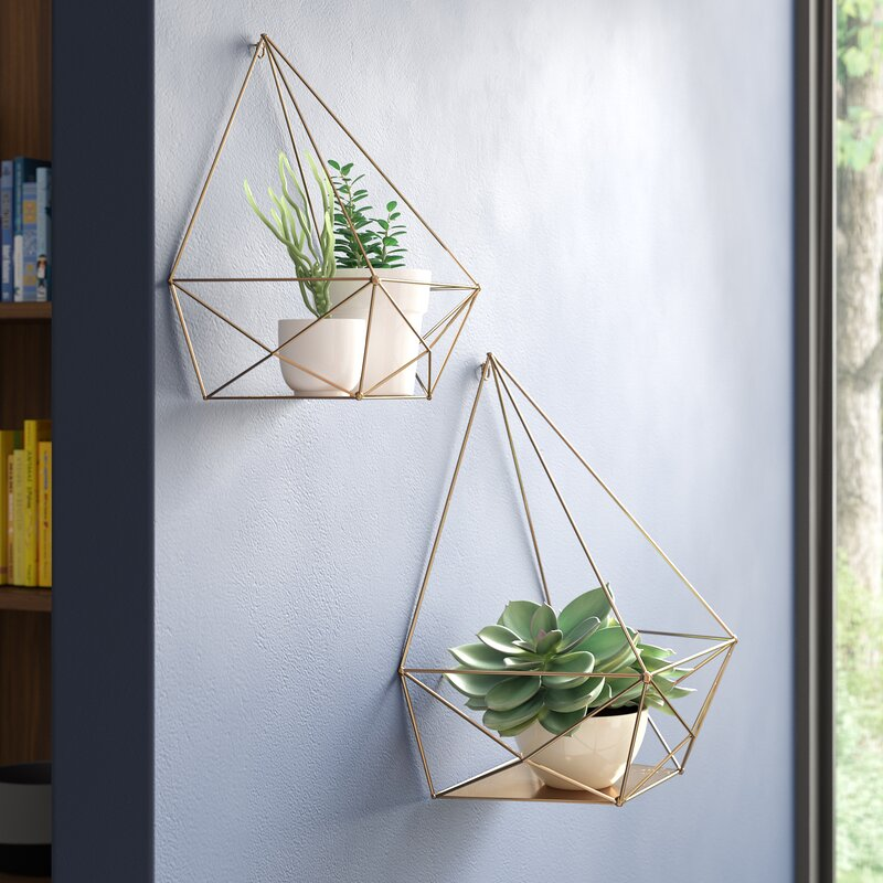 Aurellia 2 Piece Diamond Metal Floating Wall Shelf (Set of 2)