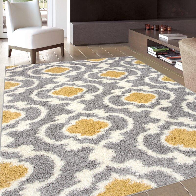 Andover Mills Hegwood Geometric Shag Yellow Area Rug Reviews Wayfair