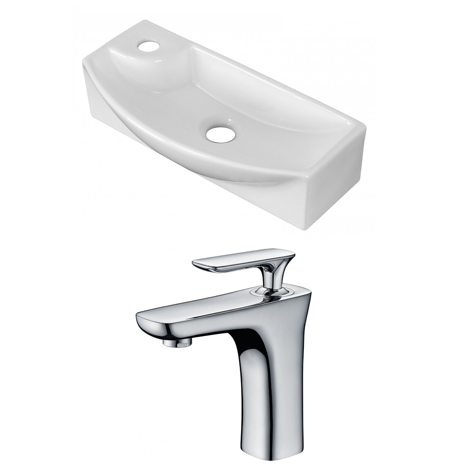 Avanities Ceramic Specialty Vessel Bathroom Sink With Faucet And Overflow