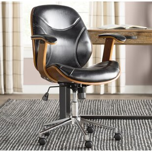 Aida High-Back Leather Desk Chair & Wood Office Chairs Youu0027ll Love | Wayfair