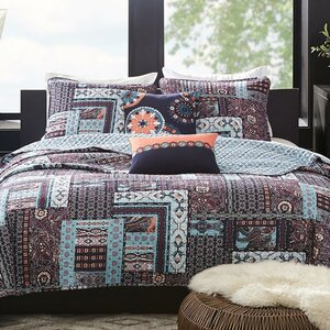 Woodblock Patchwork 5 Piece Reversible Quilt Set