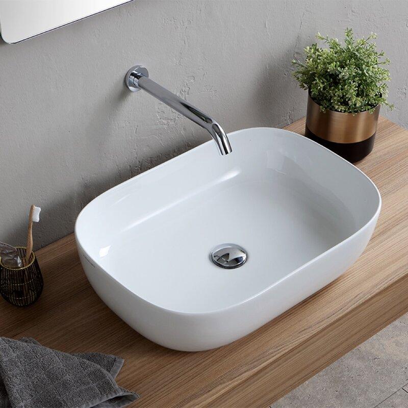 Scarabeo By Nameeks Oval Ceramic Vessel Bathroom Sink Wayfair