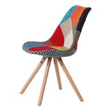 Caitlynne Linen Upholstered Side Chair in Black/White (Set of 2) by George Oliver