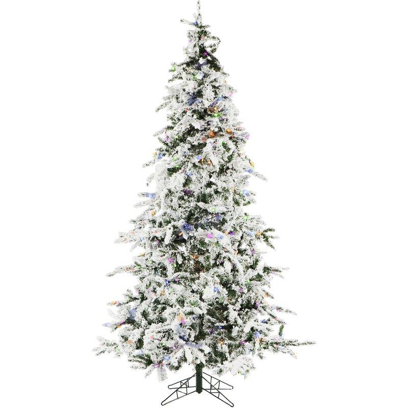521b95dfa The Holiday Aisle 7.5' Snow Pine Artificial Christmas Tree with 550  Multi-Colored & Yellow/Blue Lights | Wayfair