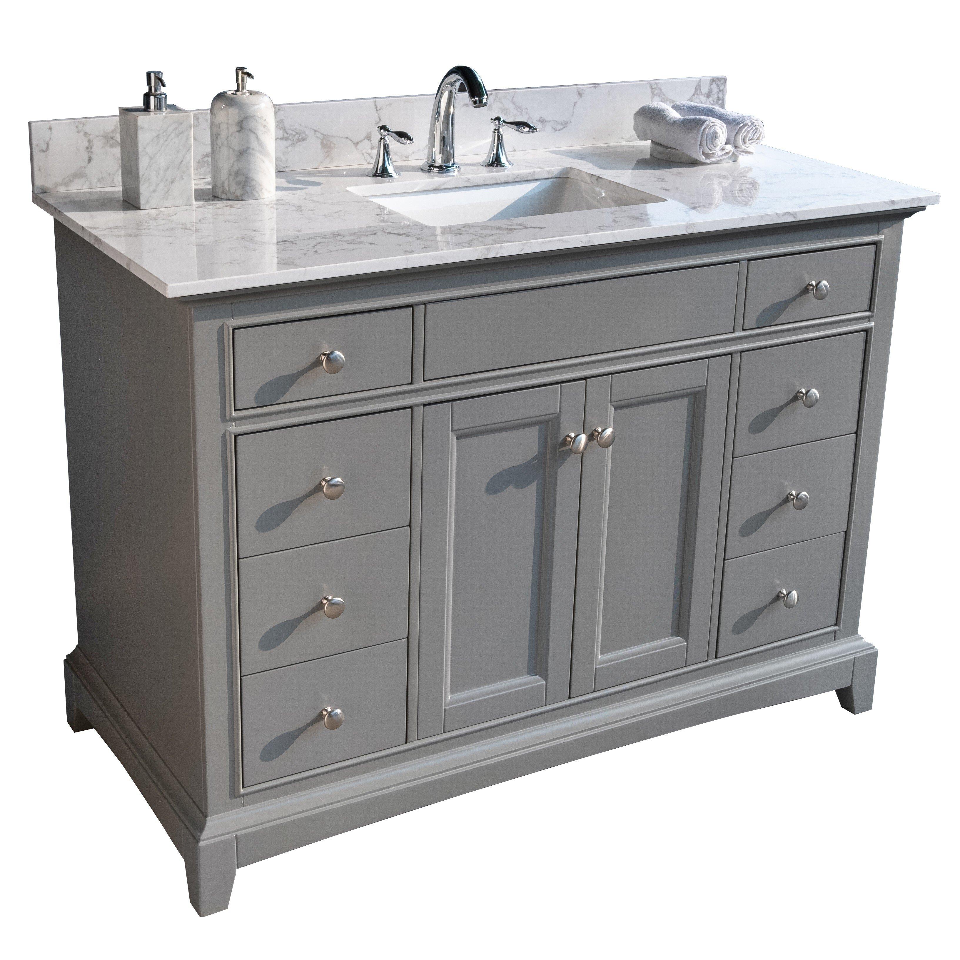 Modern Luxe Furniture 49 Single Bathroom Vanity Top In White With Sink Wayfair
