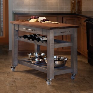 Metro Mobile Kitchen Island with Solid Walnut Top Martins Homewares