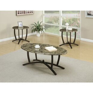 Fleur De Lis Living Caneadea Metallic 3 Piece Coffee Table Set With Oval Marble Top