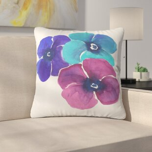 Jewel Tone Pansies By Laura Trevey Indoor/Outdoor Throw Pillow
