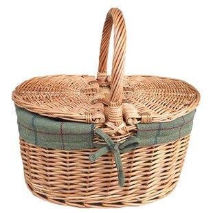 Lidded Lined Oval Picnic Basket By Brambly Cottage