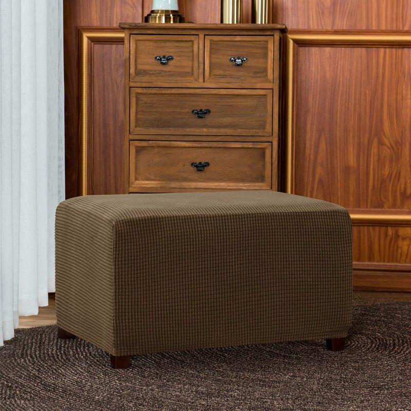 Jacquard Spandex Stretch Box Cushion Ottoman Slipcover