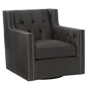 Bernhardt Candace Leather Swivel Club Chair