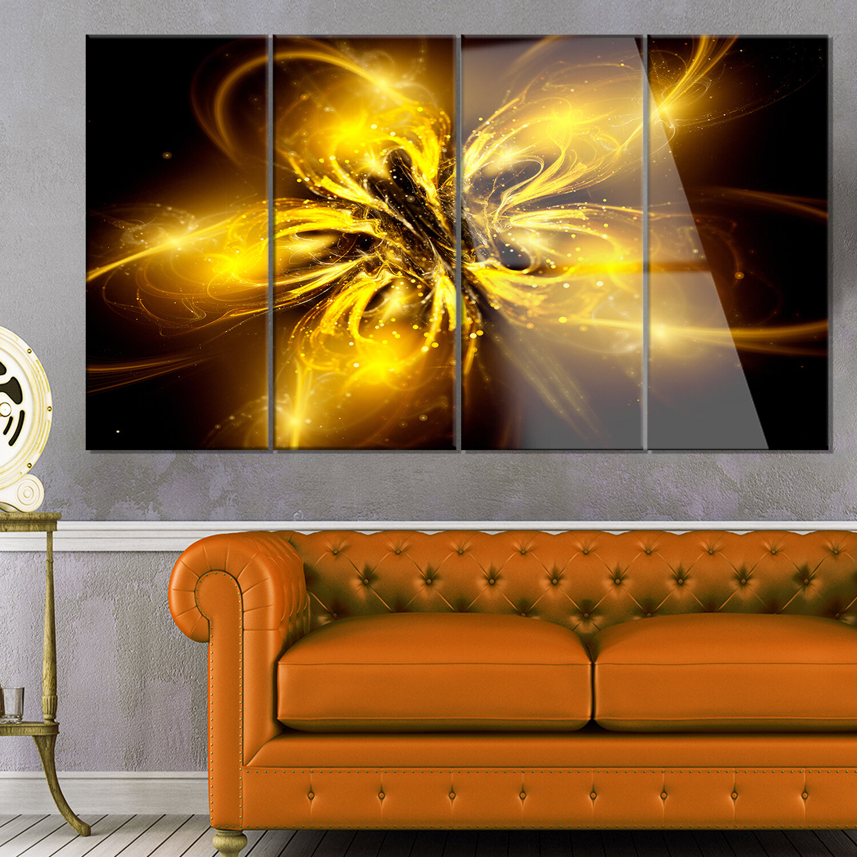 Designart Shiny Gold Fractal Flower On Black 4 Piece Graphic Art On Metal Set Wayfair