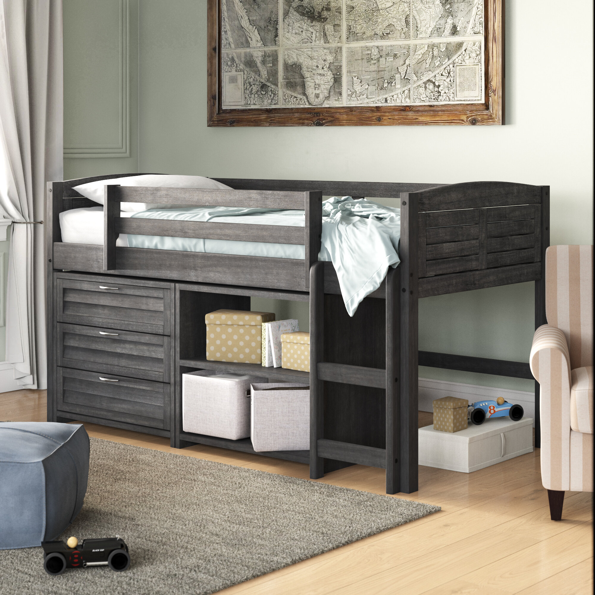 Birch Lane™ Evan Twin Low Loft Bed with Drawers & Reviews | Wayfair