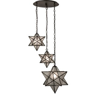 Racette Moravian Star Cascading 3-Light Cluster Pendant by World Menagerie