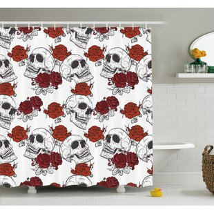 Skull Retro Gothic Dead Skeleton Figures With Rose Halloween Spooky Trippy Romantic Shower Curtain Set