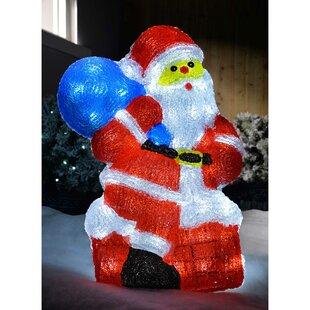 Santa With Sack Christmas Pre Lit Acrylic Lighted Display With 48 LED Lights By The Seasonal Aisle