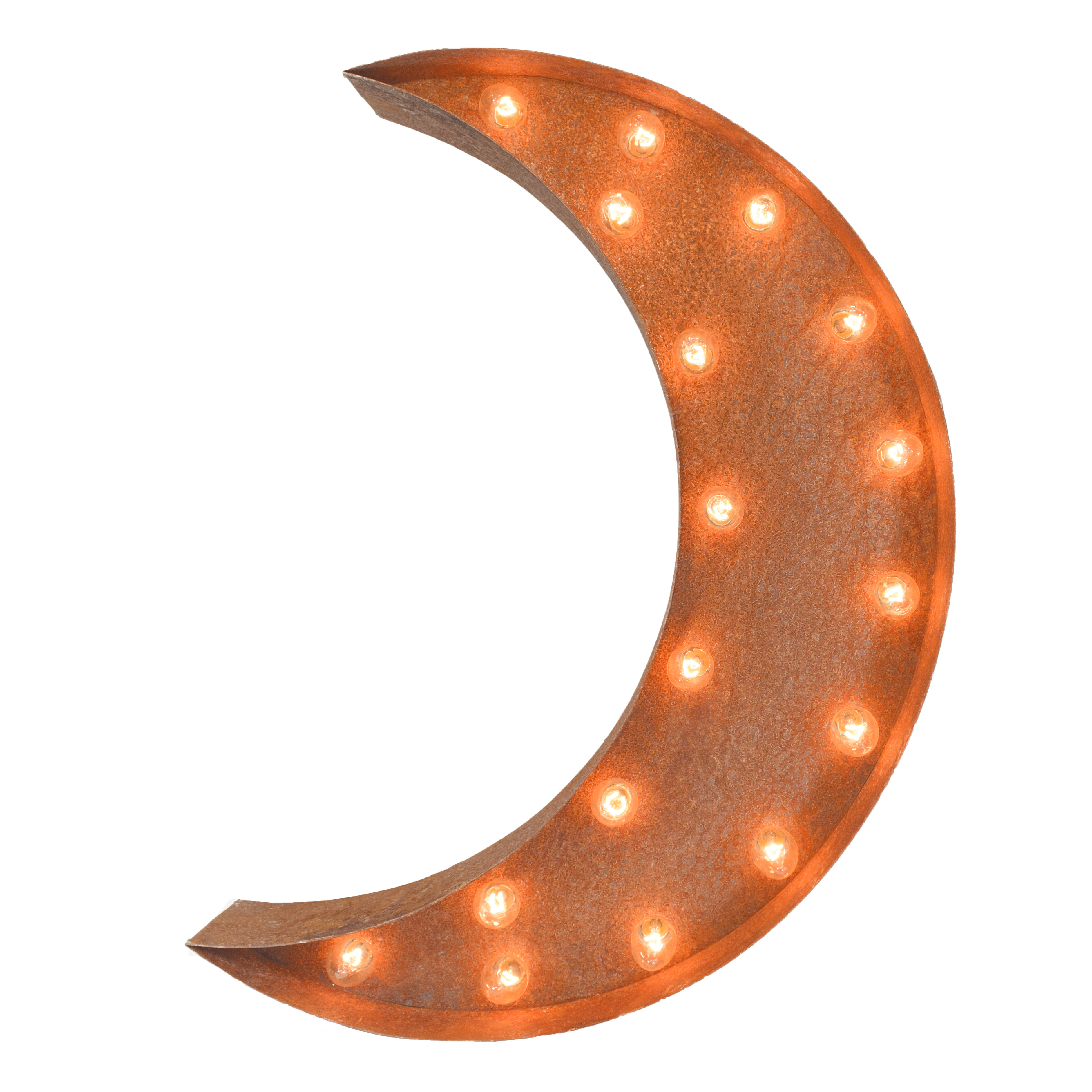 Crescent Moon Steel Marquee Light Wall
