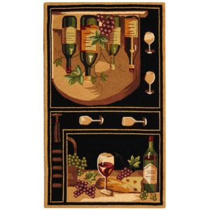 Brayton Black Wine Cellar Novelty Area Rug