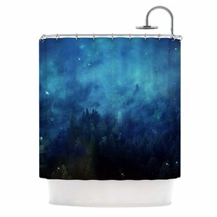 'Blue Night Forest' Single Shower Curtain By East Urban Home