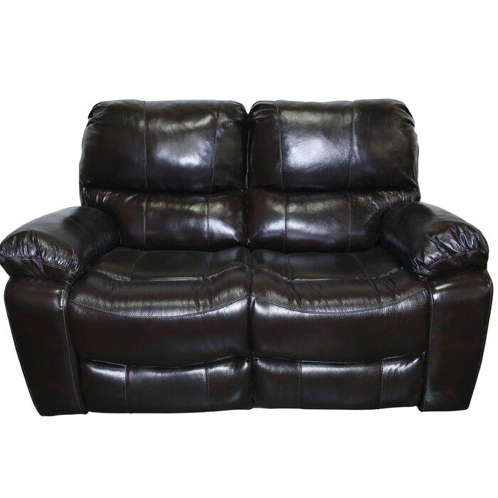 Sensational Rashida Modern Leather Reclining Loveseat Pabps2019 Chair Design Images Pabps2019Com